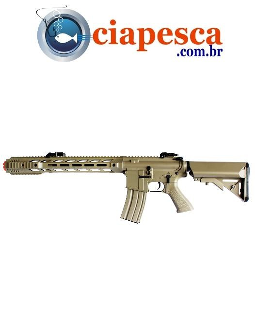 RIFLE AIRSOFT M4 CM518 TAN SALIENT SUPER METAL ELETRICO 6mm CYMA